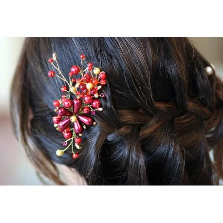Peigne à chignon fleurs bordeaux rouges et fils dorés