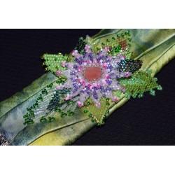 """Bracelet en shibori et peyote """"fleurs"""""""