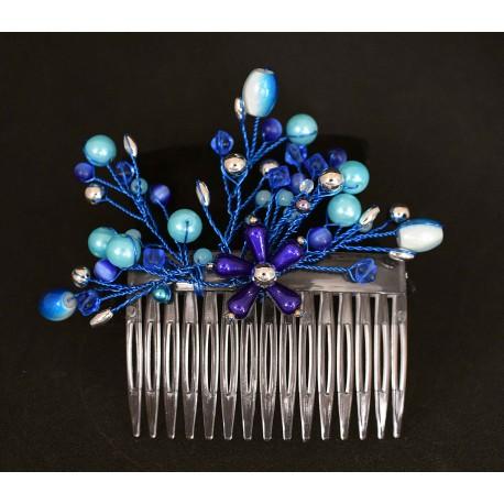 Peigne à chignon en wire wrapping bleu