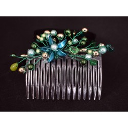 Peigne à chignon en wire wrapping vert