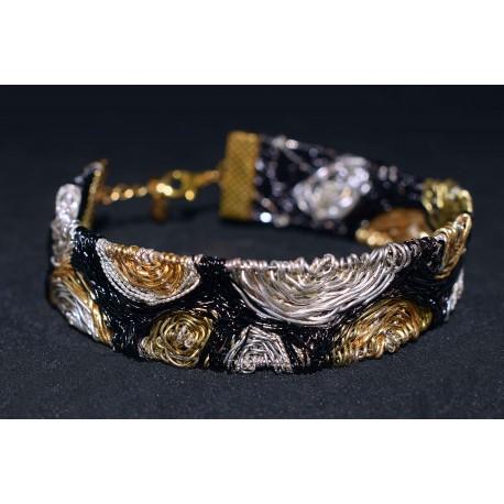 Bracelet en wire wrapping tissé