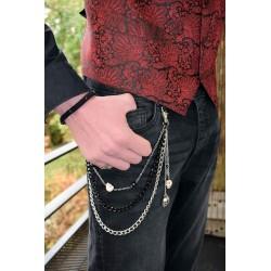 Bijou de ceinture en chaines et tête de mort