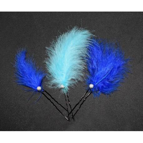 Epingles à cheveux aux plumes bleues
