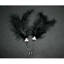 Epingles à cheveux aux plumes