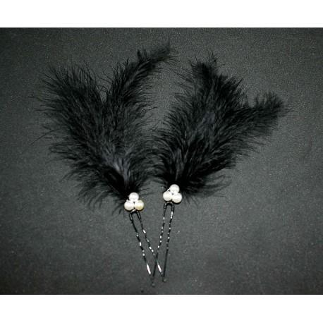 Epingles à cheveux aux plumes noires et blanches