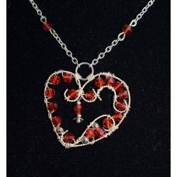 Collier wire wrapping, coeur et swarovski