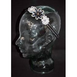 Bijou de tête en soutache aux 3 fleurs
