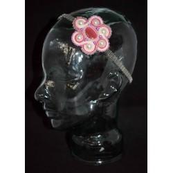 Serre tête métal à la fleurs en soutache