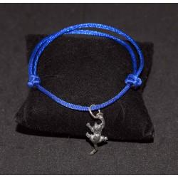 Bracelet en noeuds chinois  boules simples et breloque chat