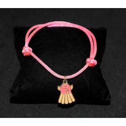 Bracelet en noeuds chinois  boules simples et breloque robe