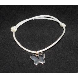 Bracelet en noeuds chinois  boules simples et breloque papillon