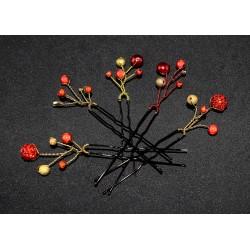 5 Epingles à cheveux aux perles tons rouges