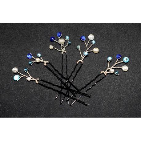 5 Epingles à cheveux aux perles tons bleutés