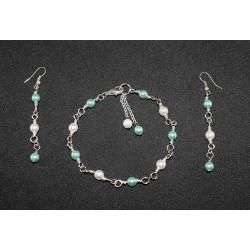 Parure en wire wrapping, breloques perles