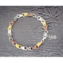 Bracelet chaine maille en anneaux de 4 couleurs pour homme ou femme