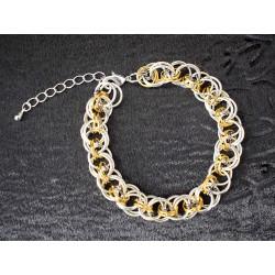 Bracelet chaine maille en anneaux de 3 couleurs pour homme ou femme
